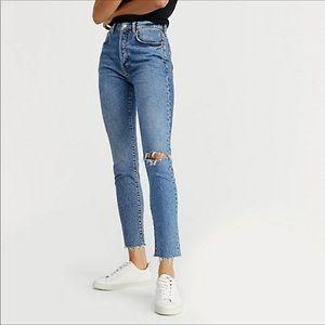 FREE PEOPLE We The Free Skinny Raw Hem Ankle Jean